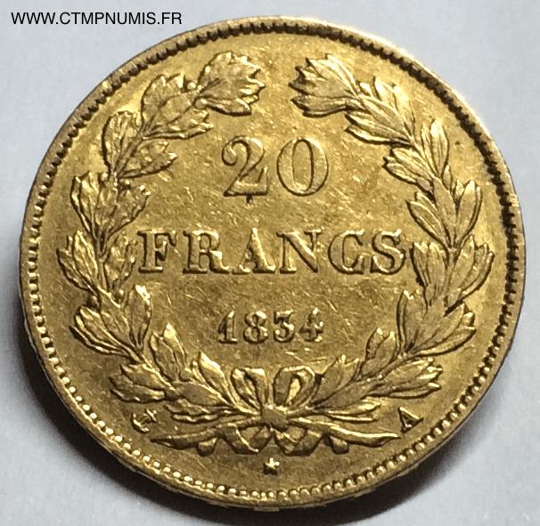 20 francs or louis philippe i 1834 a paris ctmp numis. Black Bedroom Furniture Sets. Home Design Ideas
