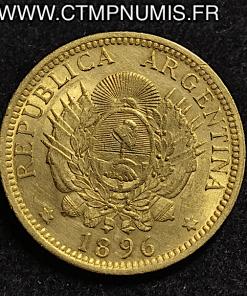 ARGENTINE 5 PESOS 1 ARGENTINO OR 1896