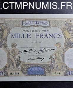 1000 FRANC CERES MERCURE 21 JANVIER 1932