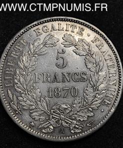 5 FRANCS ARGENT CERES AVEC LEGENDE 1870 A