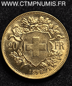 SUISSE 20 FRANCS OR VRENELI 1898