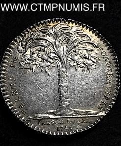 JETON ARGENT LOUIS XV TRESOR ROYAL R/ PALMIER 1744