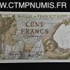 100 FRANCS BILLET SULLY NEUF