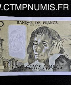 BILLET 500 FRANCS PASTEUR 1992
