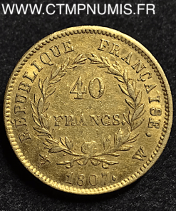 40 FRANCS OR NAPOLEON 1807 W LILLE