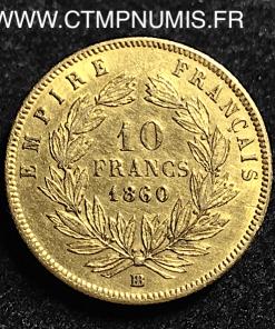 10 FRANCS OR NAPOLEON 1860 BB STRASBOURG