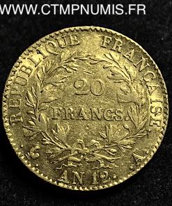 20 FRANCS OR CONSUL AN 12 A PARIS