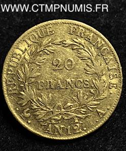 20 FRANCS OR NAPOLEON AN 12 A PARIS