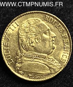 20 FRANCS OR LOUIS XVIII HABILLE 1814 A PARIS