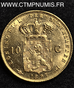 PAYS BAS 10 GULDEN OR CHEVEUX LONGS 1897
