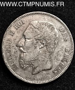 BELGIQUE   5 FRANCS  ARGENT   LEOPOLD II   1867
