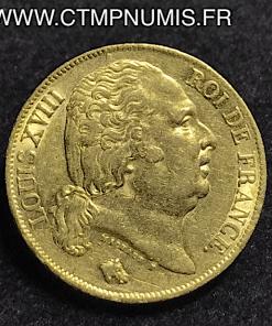 20 FRANCS LOUIS XVIII AU BUSTE NU 1818 A PARIS