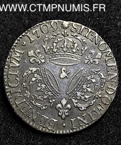 LOUIS XIV 1/4 ECU ARGENT AUX 3 COURONNES 1709 AIX