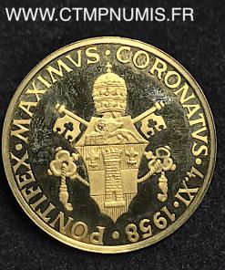 VATICAN MEDAILLE OR JEAN XXIII COURONNE 1958
