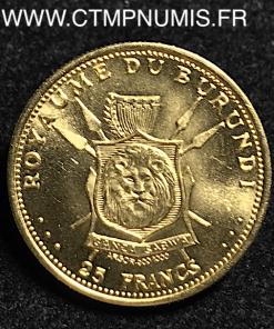 BURUNDI 25 FRANCS OR 1965
