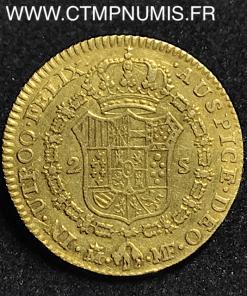 ESPAGNE 2 ESCUDOS OR CHARLES IV 1794 MADRID