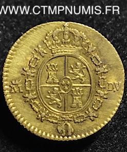 ESPAGNE 1/2 ESCUDO OR CHARLES III 1786 MADRID