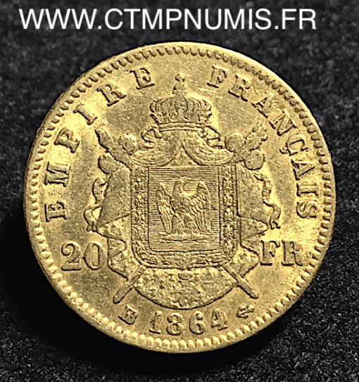 20,FRANCS,OR,NAPOLEON,1864,GRAND,BB,STRASBOURG,