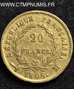 ,20,FRANCS,OR,NAPOLEON,I°,REPUBLIQUE,1808,M,TOULOUSE,