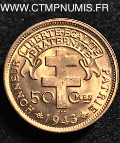 AFRIQUE,EQUATORIALE,50,CENTIMES,1943,SPL,
