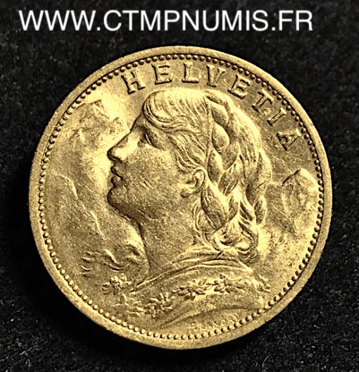 SUISSE 20 FRANCS OR VRENELI 1904 B BERNE
