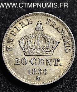 20 CENTIMES NAPOLEON III 1866 STRASBOURG