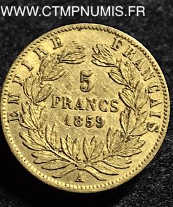 5 FRANCS OR NAPOLEON III TETE NUE 1859 A PARIS