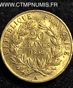 20 FRANCS OR LOUIS NAPOLEON 1852 A PARIS