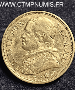 ITALIE VATICAN 20 LIRE OR PIE IX 1867 R ROME XXII