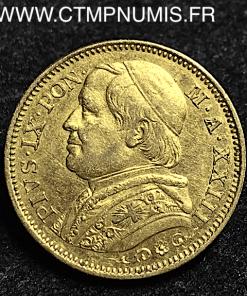 VATICAN 20 LIRE OR PIE IX 1868 R ROME XXIII