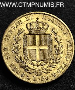 ITALIE 20 LIRE OR CHARLES ALBERT 1836 GENES