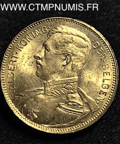 BELGIQUE 20 FRANCS OR ALBERT I° 1914 FLAMAND