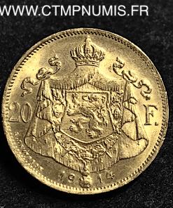 BELGIQUE 20 FRANCS OR ALBERT 1914 FRANCAIS