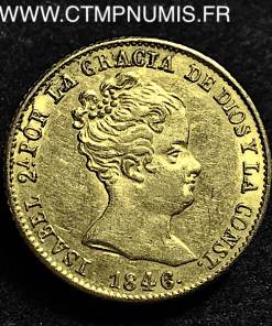 ESPAGNE 80 REALES OR ISABEL 1846 B BARCELONE