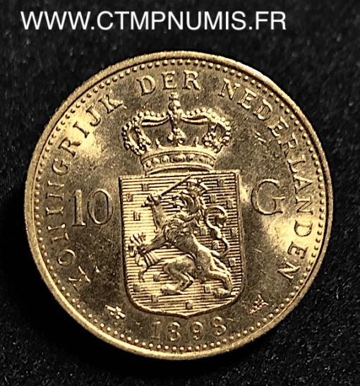PAYS BAS 10 GULDEN OR WILHELMINE 1898