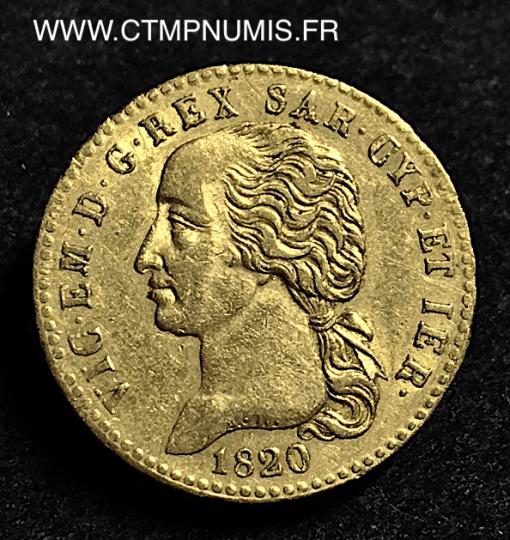 ITALIE 20 LIRE OR VICTOR EMMANUEL II 1820 TURIN
