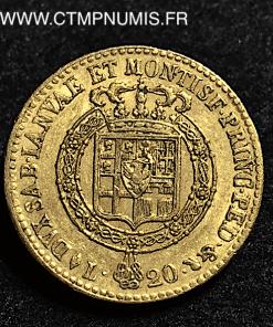ITALIE 20 LIRE OR VICTOR EMMANUEL II 1820 TURIN 1820 TURIN TTB