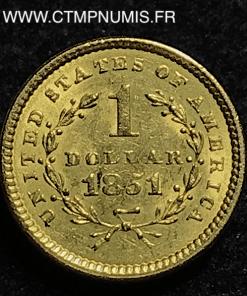 USA 1 DOLLAR OR 1851 TTB