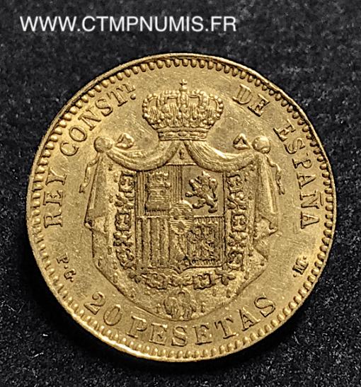ESPAGNE 20 PESETAS OR ALPHONSE XIII 1892 (92)