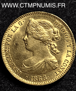 ESPAGNE 10 ESCUDOS OR ISABEL II 1868 (73) SUP