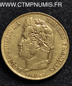 20 FRANCS OR LOUIS PHILIPPE I° 1837 W LILLE TTB