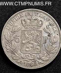 BELGIQUE 5 FRANCS ARGENT LEOPOLD I° 1865 TTB