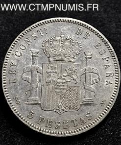 ESPAGNE 5 PESETAS ARGENT ALPHONSE XIII 1898