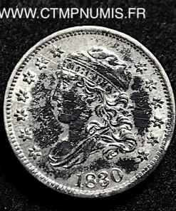 USA DEMI DIME 5 CENTS ARGENT 1830 TTB/SUP
