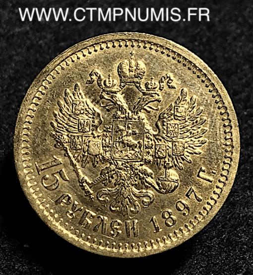 RUSSIE 15 ROUBLES OR NICOLAS II 1897