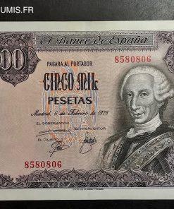 ESPAGNE BILLET 5000 PESETAS 1976 SANS SERIE