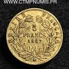 5 FRANCS OR NAPOLEON III 1867 BB STRASBOURG