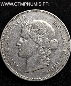 SUISSE 5 FRANCS ARGENT 1890 B BERNE