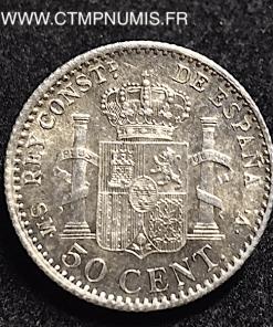 ESPAGNE 50 CENTIMOS ALPHONSE XIII 1904 SMV SPL