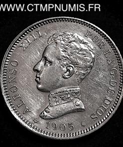 ESPAGNE 2 PESETAS ARGENT ALPHONSE XIII 1905 SUP